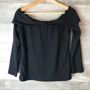 NYTT off shoulder black long sleeve sweater top